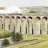 Settle viaduct, railway line painting
